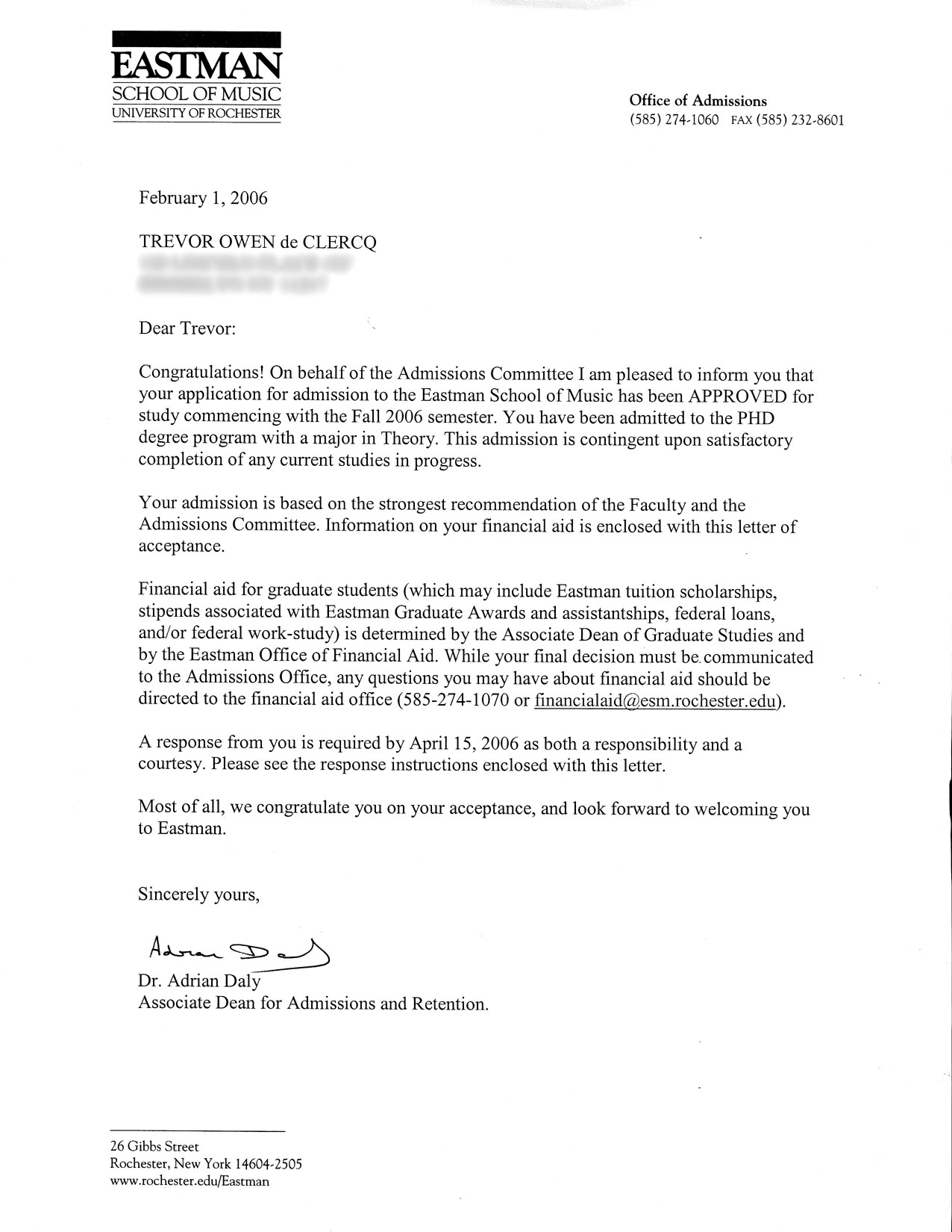 phd application trevor de clercq eastman acceptance letter